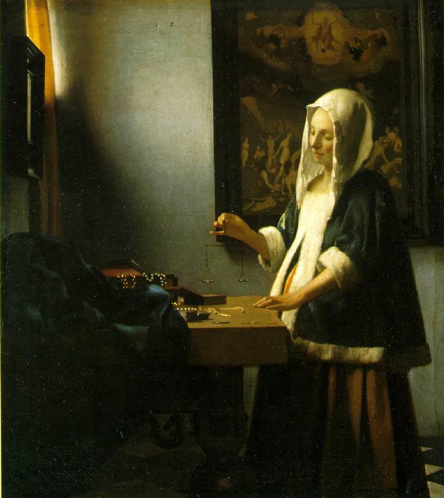 La  FEMME  dans  l' ART - Page 3 Vermeer.weighing-pearls